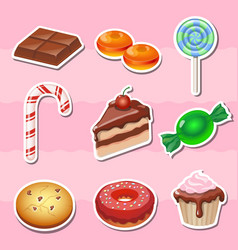 set colorful various candy sweets and cakes vector image