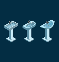 Set of isometric light blue wash basins vector