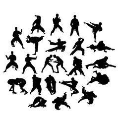 Silhouette martial arts vector