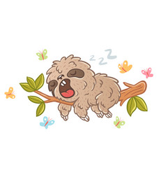 sloth and butterflyes vector image