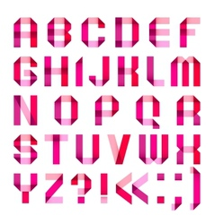 Spectral letters folded of paper ribbon-pink vector image