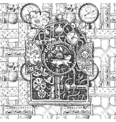 steampunk mechanism sketch vector image vector image