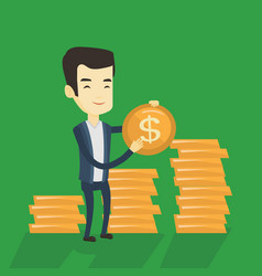 successful business man with dollar coin vector image