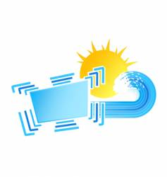 sunny waves design element vector image