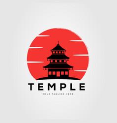 Sunset silhouette pagoda temple logo design vector