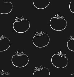 tomato vegetable chalk contour seamless pattern vector image
