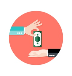 Two Businessmen Money Payment Circle Flat Icon vector
