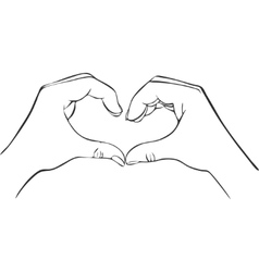Two hands with heart sign vector