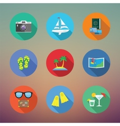 Vacation or Travelling Flat Style Icon Set With vector image