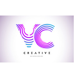 Vc lines warp logo design letter icon made with vector