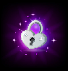 Video game icon with silver sparkly padlock on vector