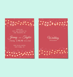 Wedding invitation with light garlands vector