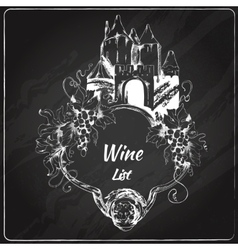 Wine list chalkboard label vector