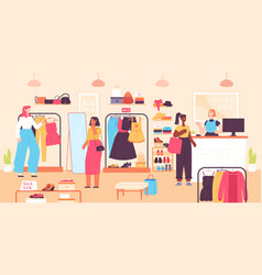 women buying in boutique fashion clothes shop vector image