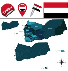 Yemen map with named divisions vector image