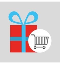 buying cart gift box design vector image vector image