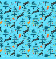 Chirstmas seamless pattern with cute deers in vector