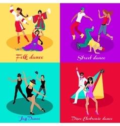 Set Street Folk Dance Jazz and Disco vector image