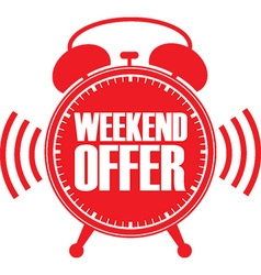 Weekend offer red alarm clock vector