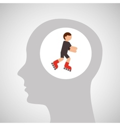 head silhouette roller skater boy extreme sport vector image