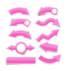 Pink paper arrow stickers with shadows vector