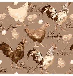 Seamless cocks and hens vector image