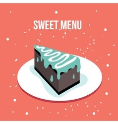 Delicious sweet cake dessert plate Modern cute vector image vector image