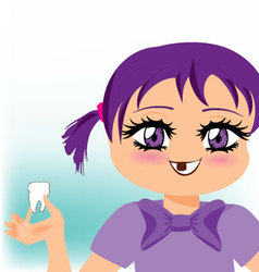 girl lost her first tooth vector image vector image