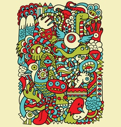 Hipster Doodle Monster Collage Background vector image vector image