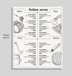 italian food menu of different pasta pizza soup vector image