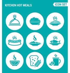 set of round icons white Kitchen hot meals dish vector image