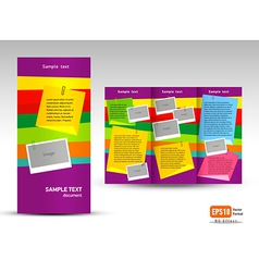 Brochure Tri-fold Layout Design Template note vector image vector image