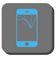 Broken smartphone screen rounded square button vector