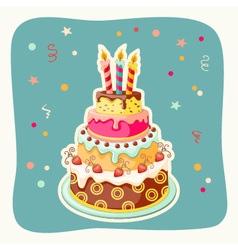 cartoon card with cake tier vector image