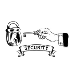 Concept of security - hand with key opens closes vector image vector image