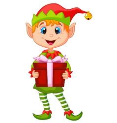 Cute christmas elf cartoon holding a gift vector image vector image