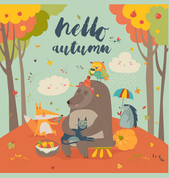 hello autumn background with cute animals vector image