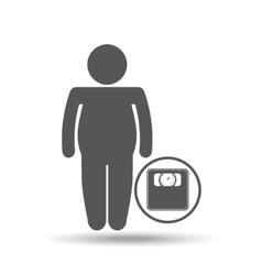 man silhouette fat weight scale icon vector image
