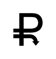 modern concept ruble icon with down Arrow vector image