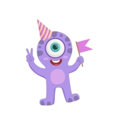 Purple Friendly Monster In Party Hat vector image vector image