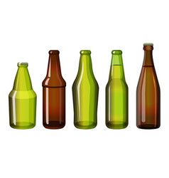 realistic brown and green bottles of different vector image vector image