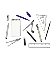 set of stationary hand draw element sketch vector image vector image