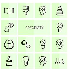 14 creativity icons vector
