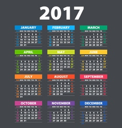 2017 Calendar - template of color 2017 calendar vector