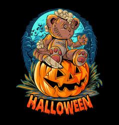 A cute halloween teddy bear with a knife sitting o vector