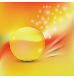 abstract background with yellow glass sphere vector image