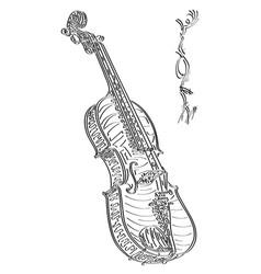 Abstract drawing violin vector