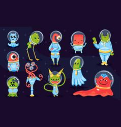 Aliens on dark background vector