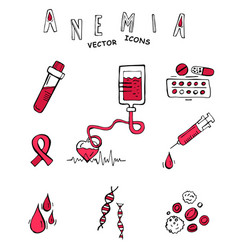Anemia doodle icons vector
