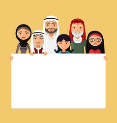 Arab family muslim people saudi cartoon man vector